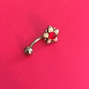 Red Jewel Flower Body Jewelry